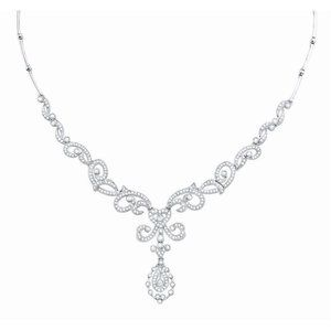 Jewelry - F 4.50 Ct brilliant cut diamonds women necklace wh